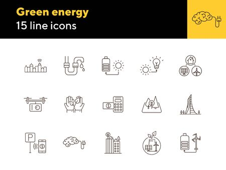 Green energy line icons. Set of line icons. Quadcopter with box, car charging station, windmill. Alternative energy concept. Vector illustration can be used for topics like environment, ecology Illusztráció