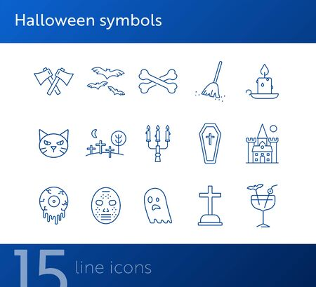 Halloween symbols icons. Grave, vampire, crossed axes. Halloween concept. Vector illustration can be used for topics like holiday, festivals, celebration