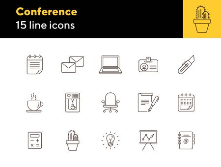 Conference icon set. Line icons collection on white background. Document, coffee, report. Presentation concept. Can be used for topics like start-up, office, workplace