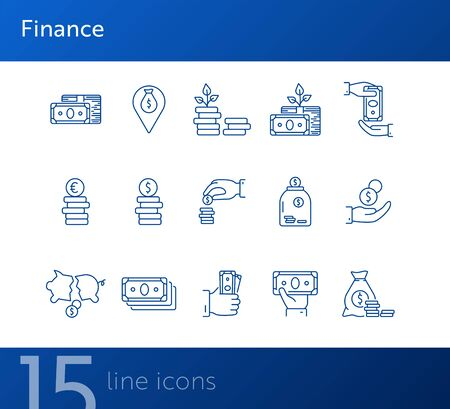 Finance icons. Line icons collection on white background. Payment, saving, coin stack. Money concept. Vector illustration can be used for topic like business, banking, economy  イラスト・ベクター素材