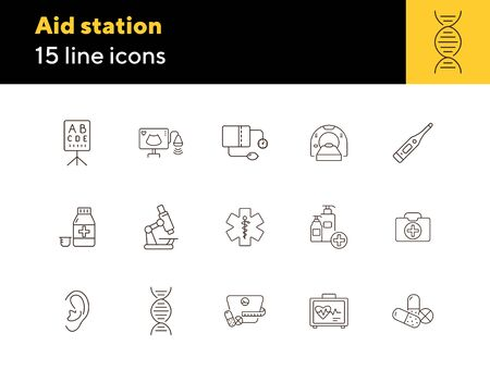 Aid station icons. Set of line icons. Pills, DNA, vision test, microscope. Medicine concept. Vector illustration can be used for topics like healthcare, science, hospital Ilustração