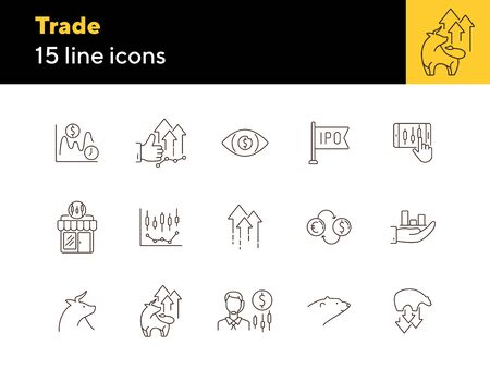 Trade line icon set. Growth, development, ipo. Profit concept. Can be used for topics like money, economy, investment