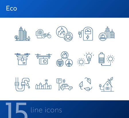 Eco energy types icons. Set of line icons. Sun and bulb, leaves, city alarm. Alternative energy concept. Vector illustration can be used for topics like environment, ecology, technology Stock fotó - 138084525