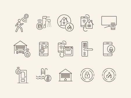 Set of Smart House and Technology icons. Thin line vector. Smart house concept. Flat illustration can be used for web design, interface, mobile application, infographics, advertising