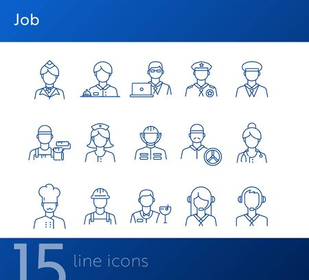 Job icons. Set of line icons on white background. Call center operator, manager, policeman. Profession concept. Vector illustration can be used for topics like career, service, occupation Illusztráció