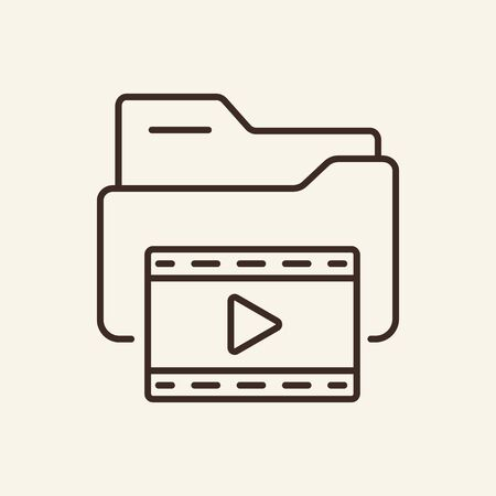 Folder with video files thin line icon. Movie gallery folder concept. Vector illustration symbol elements for web design and apps. Ilustrace