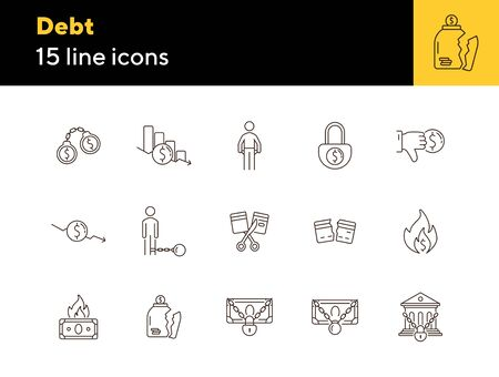 Debt icons. Set of line icons on white background. Arrested bank, broken jar, cutting credit card. Bankruptcy concept. Vector illustration can be used for topics like finance, crime, banking