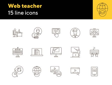 Web teacher line icon set. Student, online class, e-learning. Lesson concept. Can be used for topics like education, online lection, conference