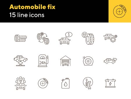 Automobile fix icons. Set of line icons. Petrol station, changing tyres, accumulator. Car repair concept. Vector illustration can be used for topics like car service, business, advertising