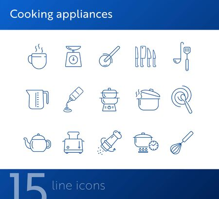 Cooking appliances icons. Set of line icons. Whisk, mixing spoon, toaster. Culinary concept. Vector illustration can be used for topics like restaurant business, cooking Reklamní fotografie - 138097928