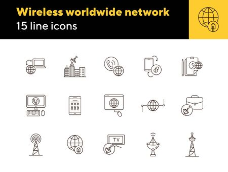 Wireless worldwide network thin line icon set. Transmitter tower, signal, satellite antenna, global net isolated sign pack. Communication services concept. Vector illustration symbol elements for apps