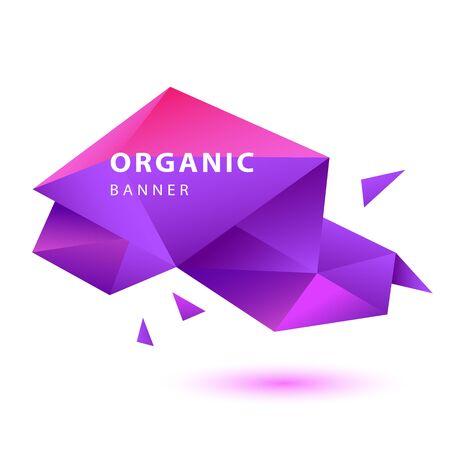 Pink and purple abstract origami shape. Faceted crystal element, colorful polygon, text sample. Template for posters, flyers, banners. Vector illustration.