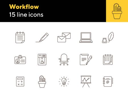 Workflow icon set. Line icons collection on white background. Office, workspace, brainstorming. Conference concept. Can be used for topics like stationery, business essentials, planning Ilustração