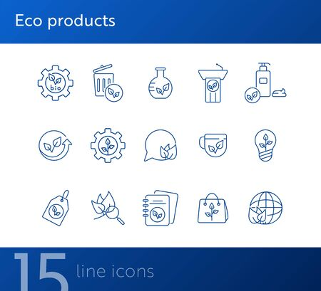 Eco products icons. Set of line icons. Notebook, liquid soap, light bulb. Eco technology concept. Vector illustration can be used for topics like ecology, technology, environment Illusztráció