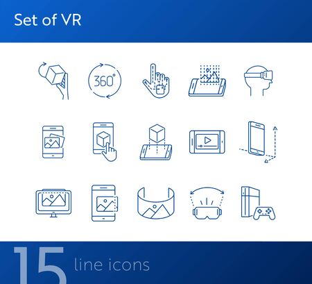 Set of VR icons. Man in VR glasses, 3D screen, robotic hand. Virtual reality concept. Vector illustration can be used for topics like VR, modern technologies, inventions