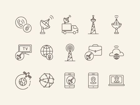 Worldwide network thin line icon set. Dish antenna, satellite, tower, smartphone isolated sign pack. Communication services concept. Vector illustration symbol elements for web design and apps. Ilustração