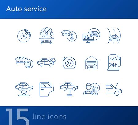 Auto service icons. Set of line icons. Mechanic, painting, petrol station. Car repair concept. Vector illustration can be used for topics like car service, business, advertising