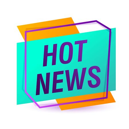 Hot news purple inscription. Hot news sticker on white background. Can be used for leaflets, brochures, announcements