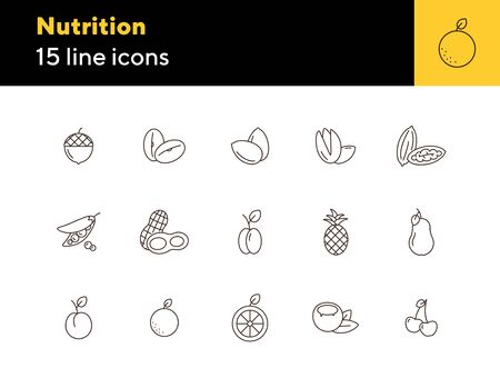 Nutrition icons. Set of line icons on white background. Coconut, pecan, cherry. Fruits and nuts concept. Vector illustration can be used for topics like healthy eating, food, dieting Çizim