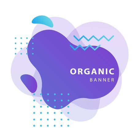 Violet irregular shapes. Dynamical forms, flowing liquid shapes, wavy line. Template , flyer or presentation. Vector illustration