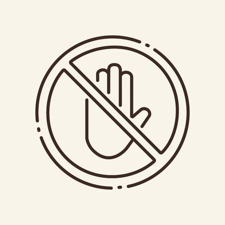 Prohibition of touch thin line icon. Entry, circular stop, hand isolated outline sign. Artificial intelligence concept. Vector illustration symbol element for web design and apps Ilustrace