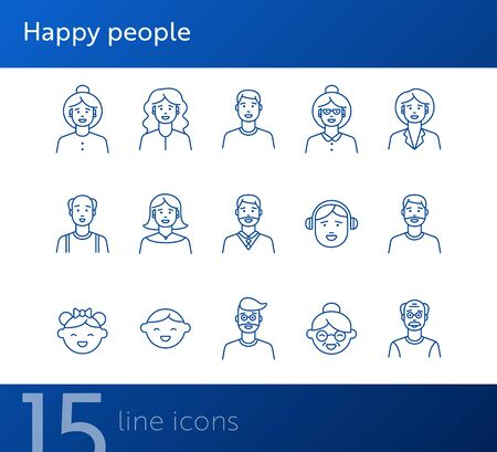 Happy people icons. Set of line icons on white background. Teenage boy, grandmother, grandfather. People concept. Vector illustration can be used for topics like application, lifestyle, family Иллюстрация