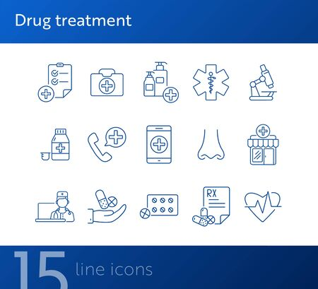 Drug treatment icons. Set of line icons. Caduceus, pharmacy, mobile medical app. Medical help concept. Vector illustration can be used for topics like healthcare, medicine, clinic