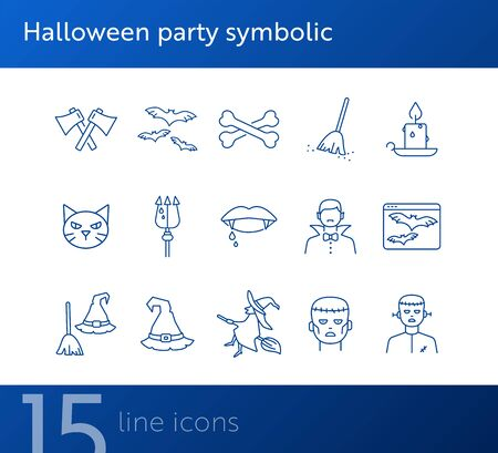 Halloween party symbolic line icons. Sweeping broom, Frankenstein, witch. Halloween concept. Vector illustration can be used for topics like holiday, festivals, celebration 向量圖像
