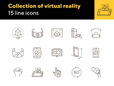 Collection of virtual reality icons. Cube in hand, robotic hand, 3D modeling. Virtual reality concept. Vector illustration can be used for topics like VR, modern technologies, inventions