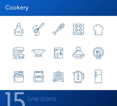 Cookery line icons. Set of line icons. Cookery book, fridge, electric kettle. Culinary concept. Vector illustration can be used for topics like restaurant business, cooking Reklamní fotografie - 138104333