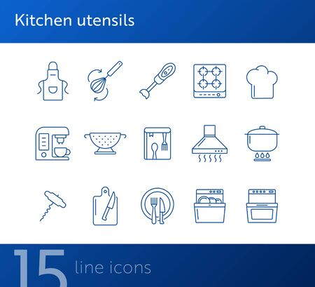 Kitchen utensils icons. Set of line icons. Kitchen hood, dishwasher, stove. Culinary concept. Vector illustration can be used for topics like restaurant business, cooking