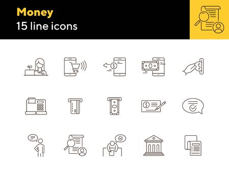 Money icons. Set of line icons on white background. Bank check, card reader, online shopping. Banking concept. Vector illustration can be used for topics like payment, finance, shopping Ilustração