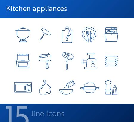 Kitchen appliances icons. Set of line icons. Mincing machine, mixer, rolling pin. Culinary concept. Vector illustration can be used for topics like restaurant business, cooking