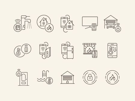 Smart House and Technology line icon set. Linear vector. Smart house concept. Flat illustration can be used for web design, interface, mobile application, infographics, advertising Ilustração