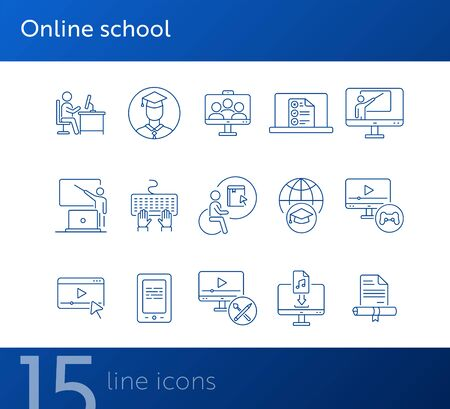 Online school line icon set. Seminar, online lesson, lecture. Web education concept. Can be used for topics like tutorial, knowledge, online university