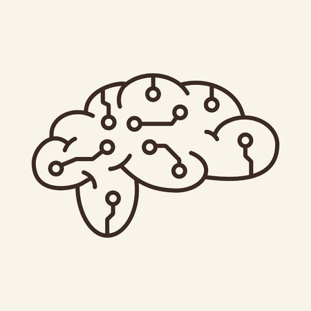 Brain simulation thin line icon. Brainwork, neural circuit, AI, machine learning isolated outline sign. Artificial intelligence concept. Vector illustration symbol element for web design and apps 向量圖像