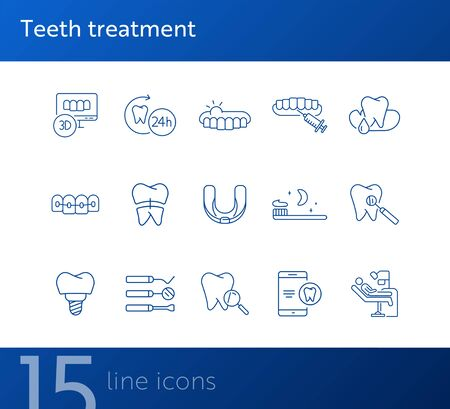 Teeth treatment line icon set. Dentist tools, injection, braces. Dental care concept. Can be used for topics like denture, dentistry, stomatology Archivio Fotografico - 138104782