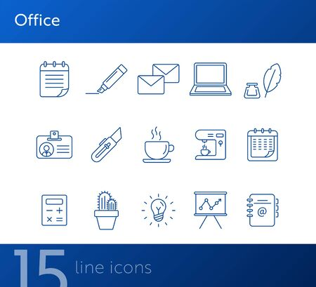 Office icon set. Line icons collection on white background. Coffee, planner, freelancing. Management concept. Can be used for topics like business, work, presentation