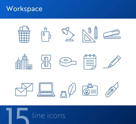 Workspace icon set. Line icons collection on white background. Stationery, paperwork, college. Creativity concept. Can be used for topics like back to school, education, office