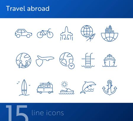 Travel abroad line icon set. Flight, globe, city, cruise. Vacation concept. Can be used for topics like journey, tour, voyage Illustration