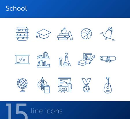 School icons. Set of line icons. Chemistry class, diploma, bookshelves. Studying concept. Vector illustration can be used for topics like education, university, scholarship Ilustracja