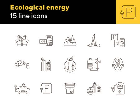 Ecological energy icons. Set of line icons. Brain with plug, electro car, windmill. Alternative energy concept. Vector illustration can be used for topics like environment, ecology, technology