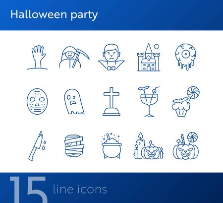 Halloween party line icons. Pot with poison, ghost, creepy cocktail. Halloween concept. Vector illustration can be used for topics like holiday, festivals, celebration