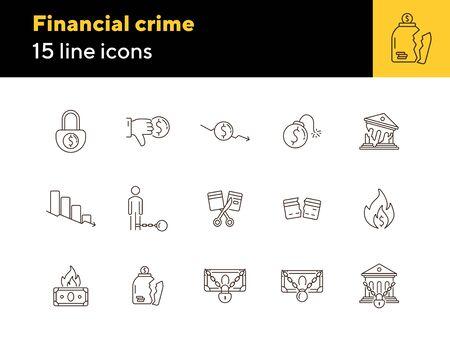 Financial crime icons. Set of line icons. Locked money, broken credit card, dollar dislike. Bankruptcy concept. Vector illustration can be used for topics like money, finance, banking Vektoros illusztráció