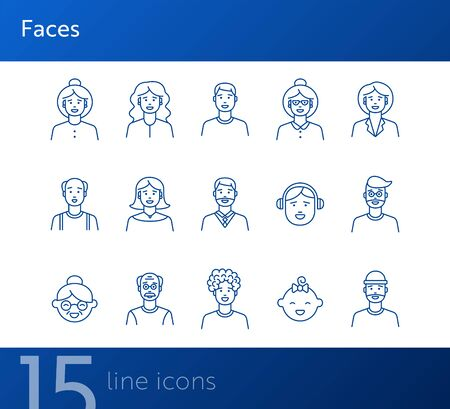Faces icons. Set of line icons on white background. Young man, boy, mid adult man. People concept. Vector illustration can be used for topics like application, lifestyle, population