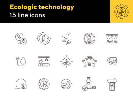 Ecologic technology line icons. Set of line icons. Cup, liquid soap, recycling. Eco technology concept. Vector illustration can be used for topics like ecology, technology, environment
