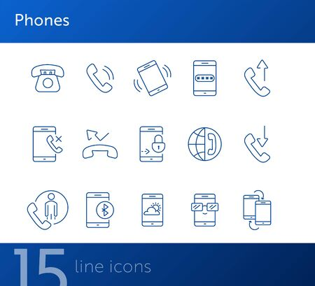 Phones icons. Set of line icons. Data transfer, mobile weather, no signal. Mobile phone concept. Vector illustration can be used for topics like technology, communication, connection