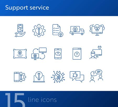Support service line icon set. Repairman, customer, smartphone. Digital gadgets concept. Can be used for topics like online help, assistance, service center Ilustrace