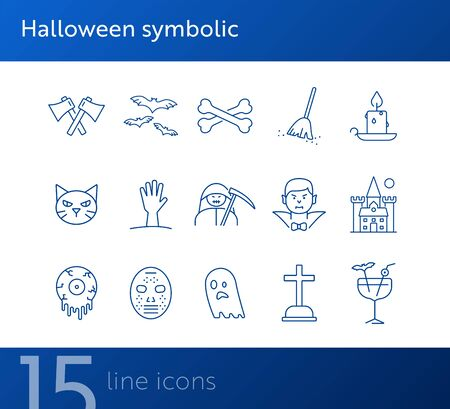 Halloween symbolic icons. Bat, ghost, crossed bones. Halloween concept. Vector illustration can be used for topics like holiday, festivals, celebration