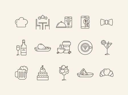 Restaurant service line icon set. Rate, wine, meat course, waiter bow isolated outline sign pack. Restaurant business concept. Vector illustration symbol elements for web design.